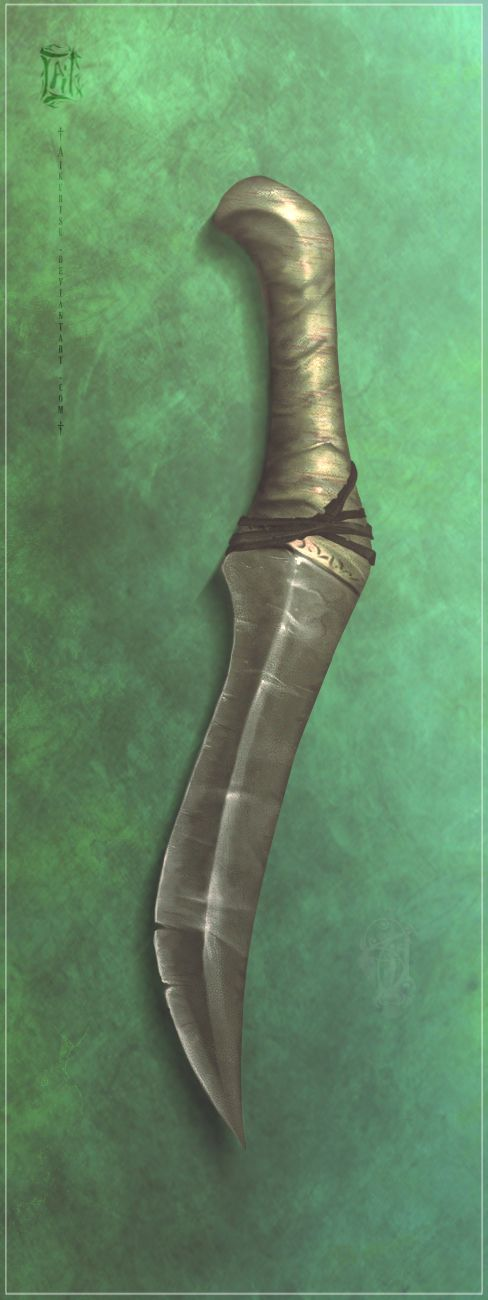 Crafted by the Alainan hunter, Joen, it was his skinning knife till he passed it on to Lucius Zahra, to whom he had given it as a token of honour, for surviving against a starved mountain cat that ...