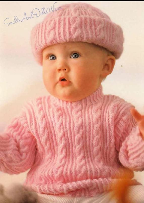 0e4a77d76a52 Vintage Knitting Pattern Baby Classic Cable Knit Pullover Sweater ...