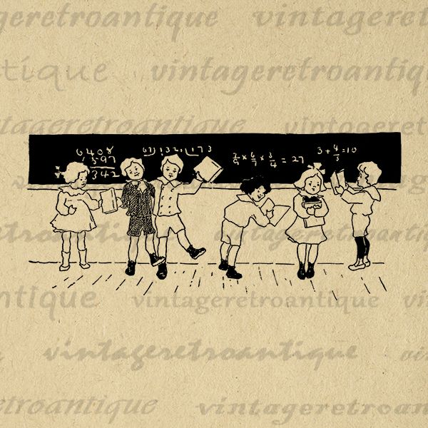 Printable School Children Learning Math Chalkboard Education Clipart Teacher Digital Image Graphic Antique Clip Art Jpg Png 300dpi No.2956 @ vintageretroantique.com #DigitalArt #Printable #Art #VintageRetroAntique #Digital #Clipart #Download