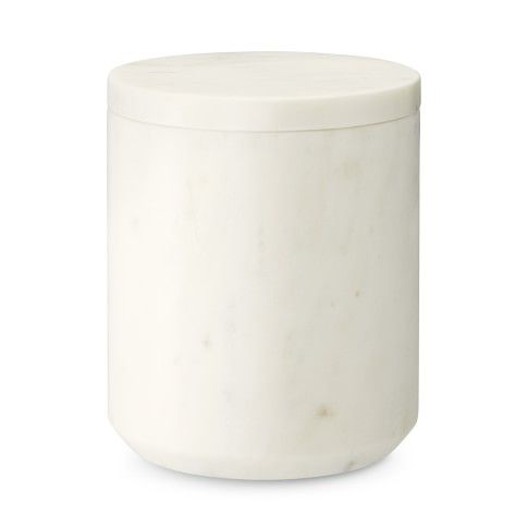 "Marble Canister Small: 5"" diam., 6"" high; 1-qt. cap.; 5 lb. Medium: 5 3/4"" diam., 7 3/4"" high; 2-qt. cap.; 8 lb. Large: 6 3/4"" diam., 9"" high; 3 1/4-qt. cap.; 14 lb."