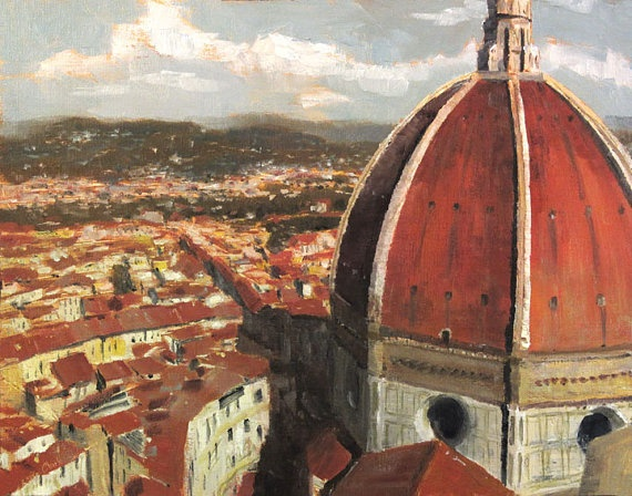 This work of art is an original oil Italy-Tuscany painting by artist Christopher Clark. The Duomo towers over the bustling and winding streets of Florence, Italy, in the Tuscany region. Centuries of art and architecture culminate at the center of this beautiful city, and this scene overlooks it all from one of the towers neighboring the Duomo. Own this original oil Italy-Tuscany painting and enjoy this scenic vista of Florence.