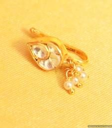 Buy Kundan  and  pearl marathi nose ring nose-ring online