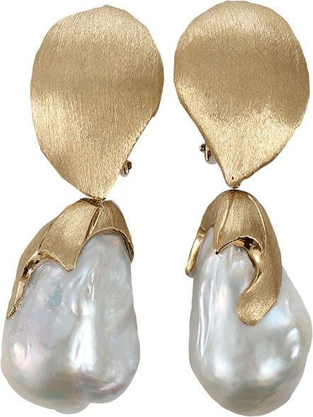 YVEL White Baroque Freshwater Pearl Drop Earrings