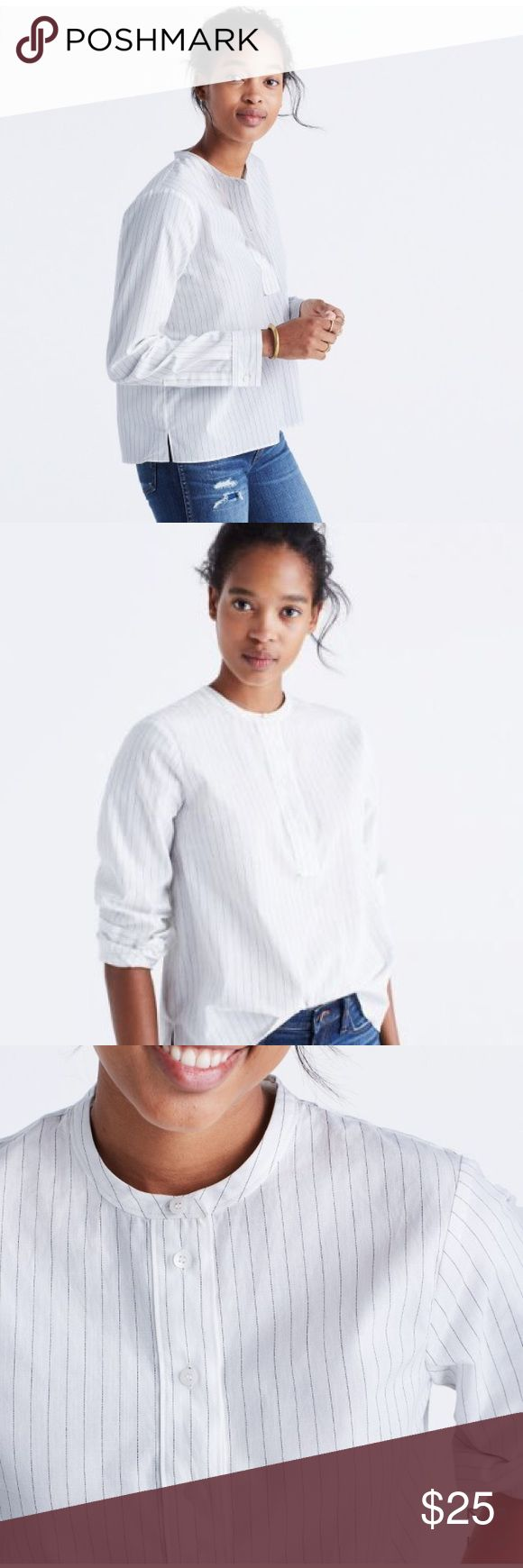 Madewell striped popover shirt, xxs Crisp and clean, this striped popover shirt is just a touch cropped to pair with high-rise jeans and skirts.  True to size. Cotton  XXS Madewell Tops Blouses