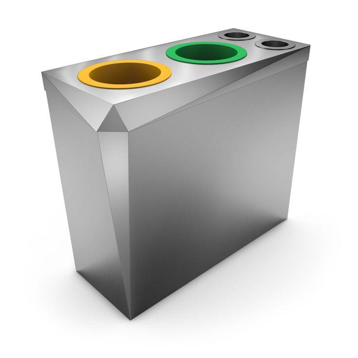 PREMIER Poubelle de tri design inox   collecteur gobelets / canettes