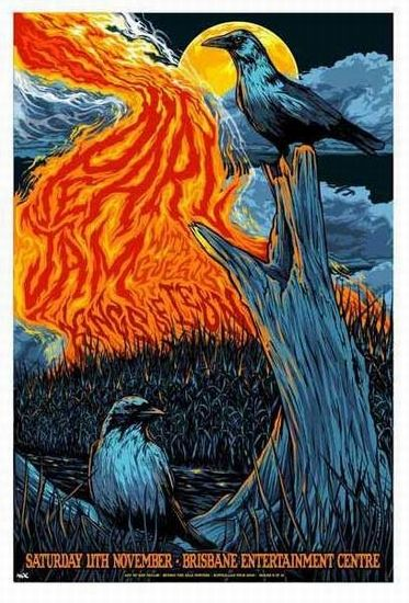 Pearl Jam Concert Poster  Entertainment Centre, Brisbane  Nov 11, 2006  #6 of a series of 12 Australian Concert Posters  Limited Edition that sold out instantly at the Venue  poster measures 19 inches x 28 inches  Artist: Ken Taylor