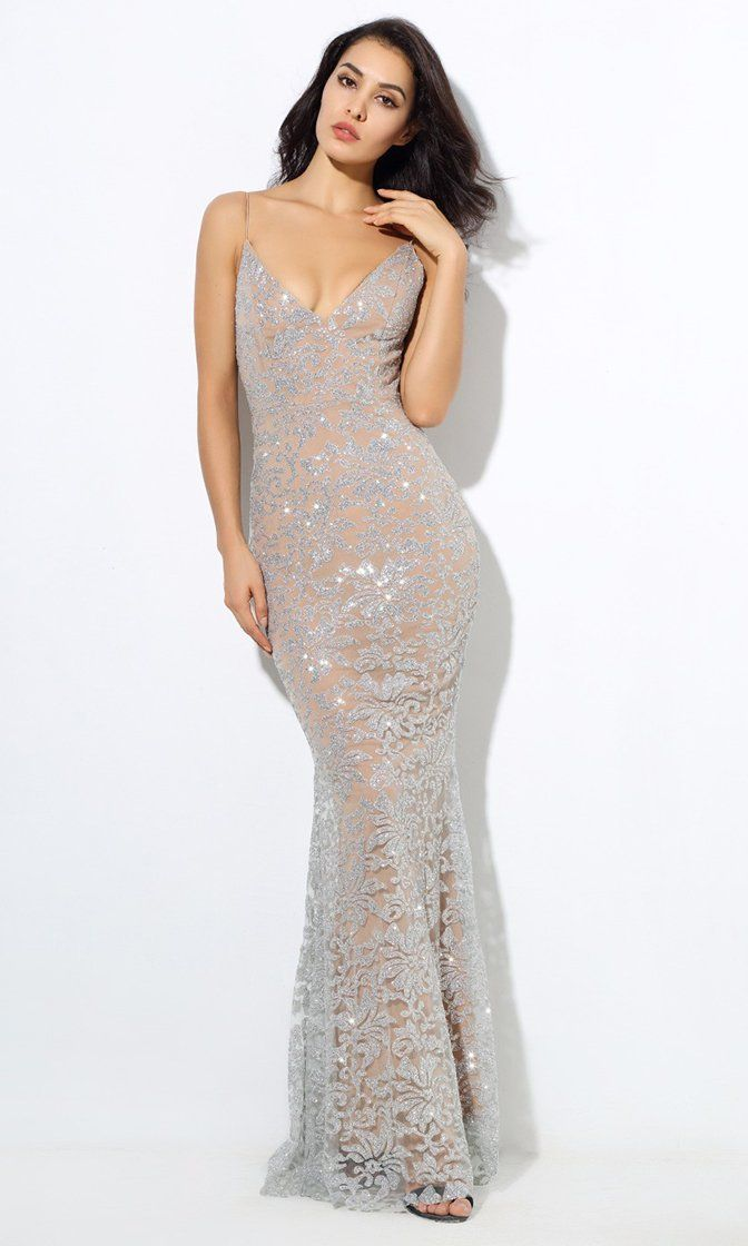 e1e8eeefdec Evening Lights Silver Floral Glitter Sleeveless Spaghetti Strap Plunge V  Neck Fit and Flare Maxi Dress