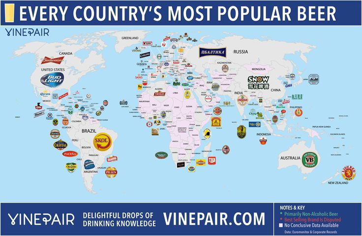 VinePair Map Of The Most Popular Beer In Every Country