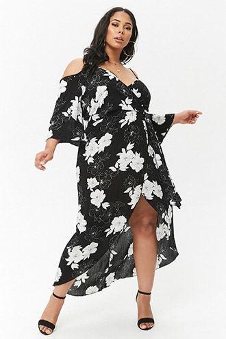 a6ac29b82b0 Plus Size Floral Surplice Open-Shoulder Maxi Dress