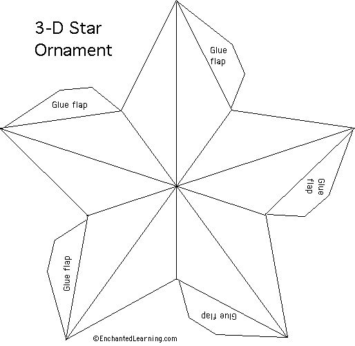 Free star pattern http://www.enchantedlearning.com/crafts/christmas/3dstar/startemplate.GIF
