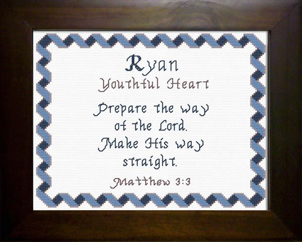 Ryan - Name Blessings Personalized Cross Stitch Design ...