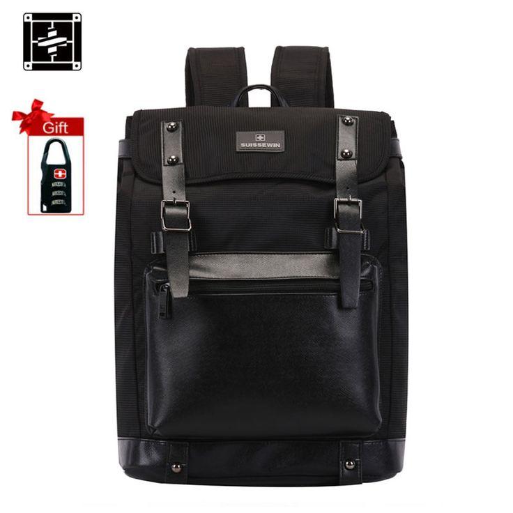 Suissewin Genuine Leather Backpack Mochila Masculina Bagpack Men School Bags Swissgear Swisswin Black Backpacks sac a dos Oxford