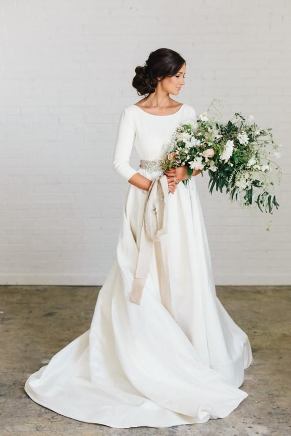 3/4 Sleeves Satin Wedding Dresses with Beaded Crystals Belt