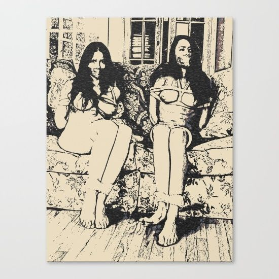 Up To $25 Off + Free Shipping on All Wall Art - Ends Tonight at Midnight PT! Slaves in Stereo - two girls is always better than one, bondage erotic nude, BDSM black and white Canvas Print #erotic #sexy #art #canvas #print