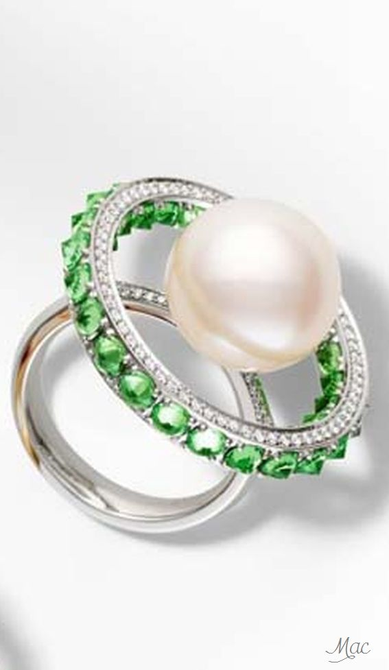 Paspaley Touchstone Australian South Sea pearl ring with tsavorites and white diamonds in white gold.