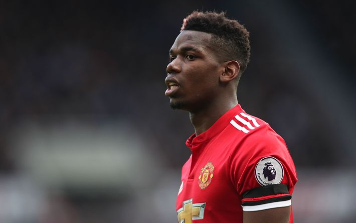 Download wallpapers Paul Pogba, French footballer, Manchester United, portrait, Premier League, 4k, football stars