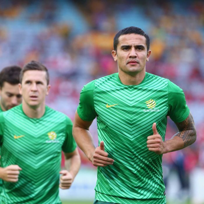 Tim Cahill warms up before the Asian Cup final - Tim Cahill of Australia warms up prior to the 2015 Asian Cup final match against South Korea Stadium Australia on January 31, 2015 in Sydney.