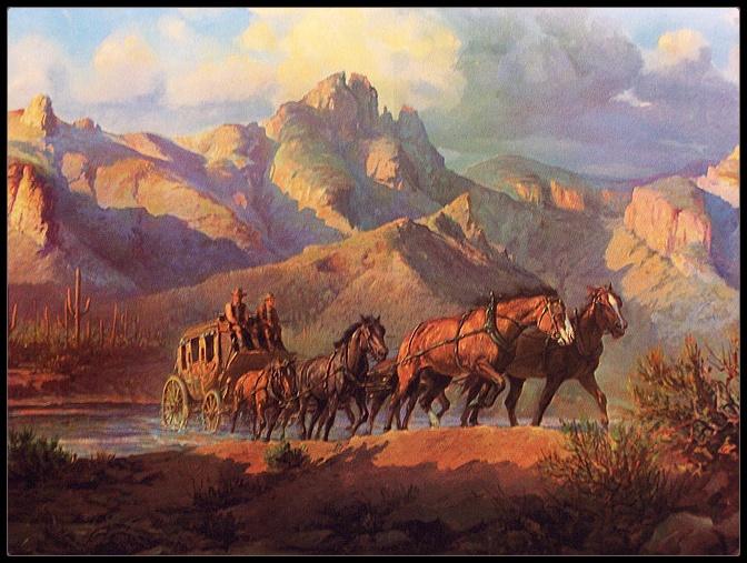 Ceramic Accent & Decor Tile Sorenson Western Stagecoach ...  |Large Western Stagecoach Art