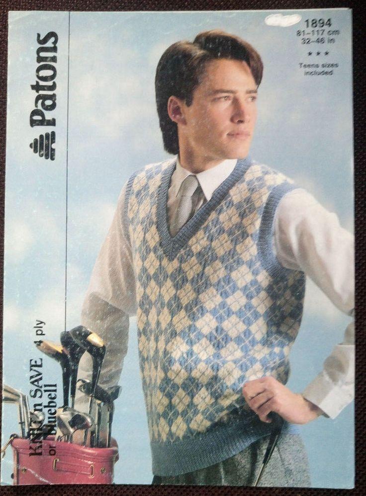 Men's Argyle Slipover Vest Patons # 1894 vintage knitting pattern 4 ply yarn #Patons
