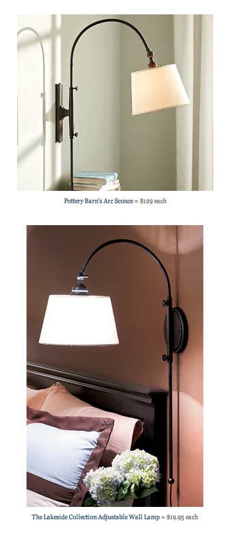 COPY CAT CHIC FIND: Pottery Barn's Arc Sconce VS The Lakeside Collection Adjustable Wall Lamp