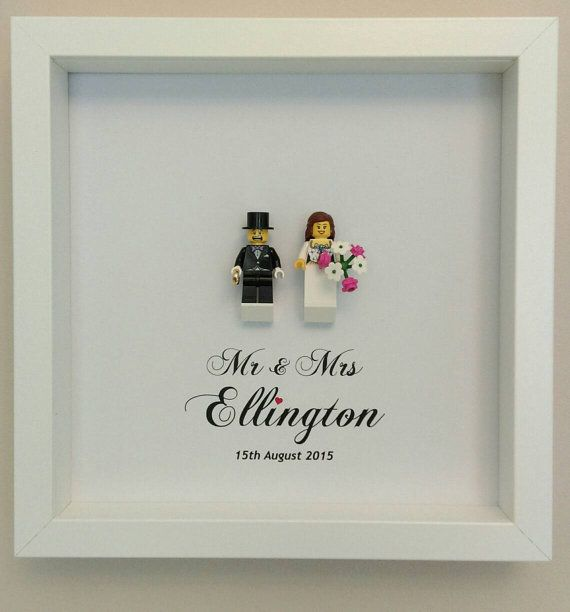 Wedding gift bride and groom mini figures framed by Brickish