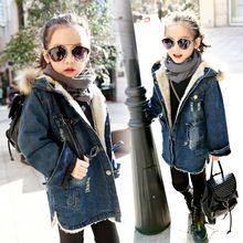 La niña de la chaqueta de invierno Invierno de los cabritos Encapuchados niños de la Capa Acolchada Parkas abrigo de Mezclilla de Algodón Gruesa Ropa de Abrigo, además de terciopelo engrosamiento(China)