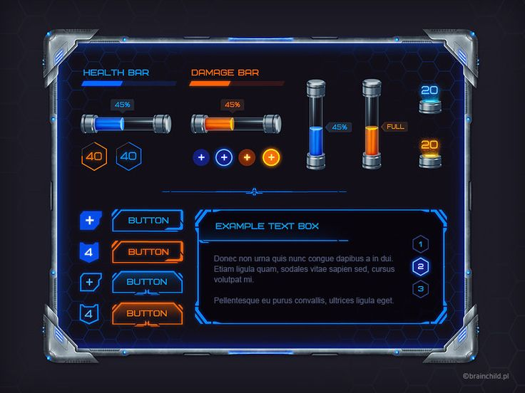 Sci-Fi GUI set for a game, Rafał Urbański on ArtStation at https://www.artstation.com/artwork/sci-fi-gui-set-for-a-game