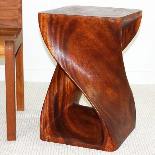 "#EndTable carved wood Twist 15"" square 20"" or 23"" tall...Cherry and Walnut finishes"