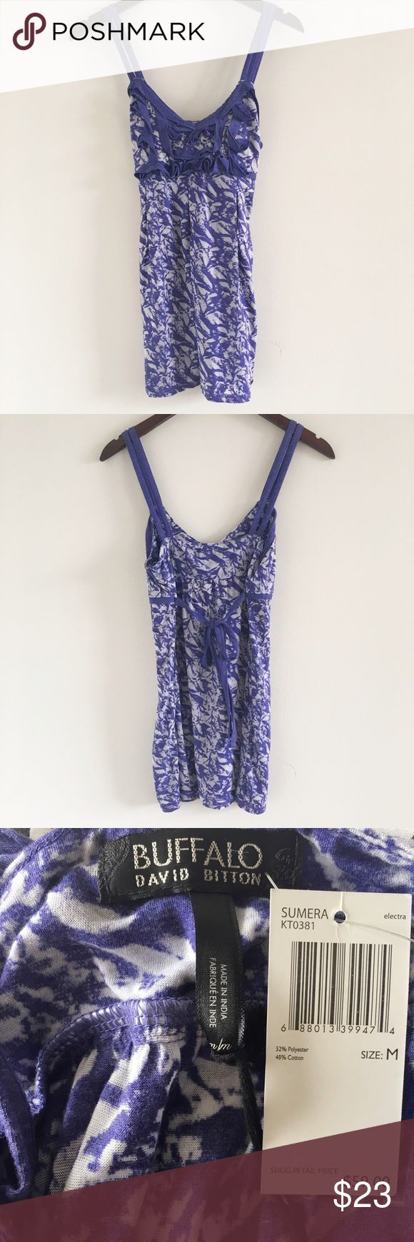 "NWT Buffalo David Bitton Purple Cami Size M A pretty, lightweight cotton-feel cami featuring 2 straps on each side and a tie in the back for an extra feminine touch 💕  Stats (laying flat): Length: approx 27"" incl. straps 