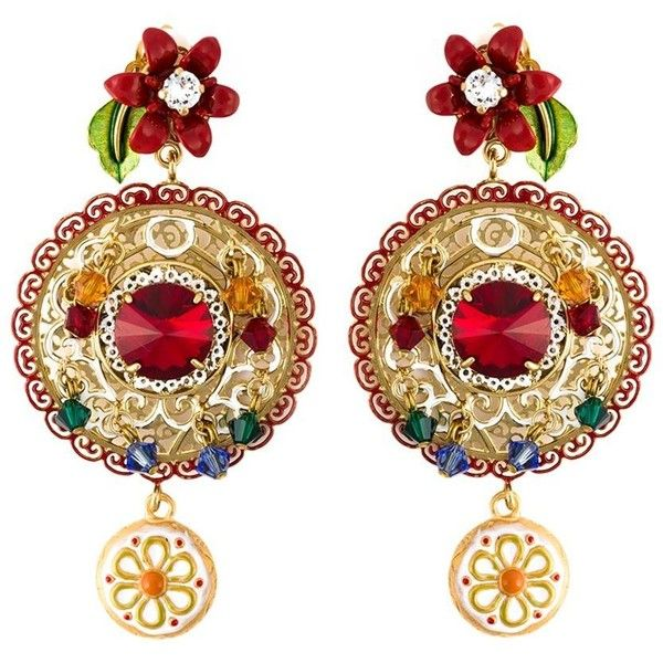 Dolce & Gabbana Daisy Drop Crystal Filigree Earrings (1 845 AUD) found on Polyvore featuring jewelry, earrings, metallic, crystal jewellery, daisy jewelry, gold tone earrings, filigree jewelry and crystal jewelry