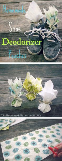 Here's how to make your own awesome homemade shoe deodorizer sachets with baking soda, arrowroot powder, and essential oils.