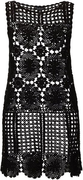 Black Crochet Flower Cover Up - Lyst