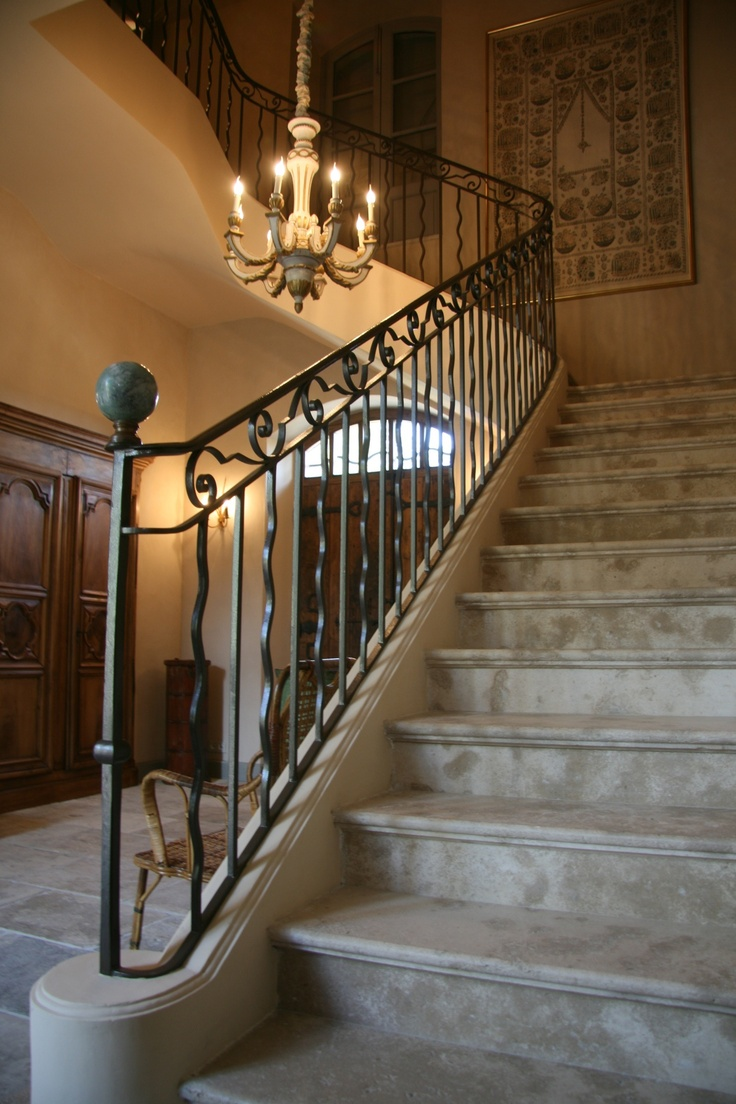 Forged iron stair rail and spindle design - H Bosc Architecte
