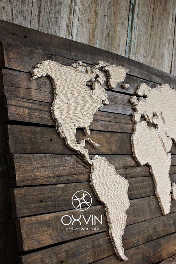 Many hang paper map at the wall, I offer you a unique map of the world. Made from natural wood, tinted wood stain.  Size is 84×38 cm  These are hand-made