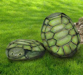 Painted turtle-themed rocks