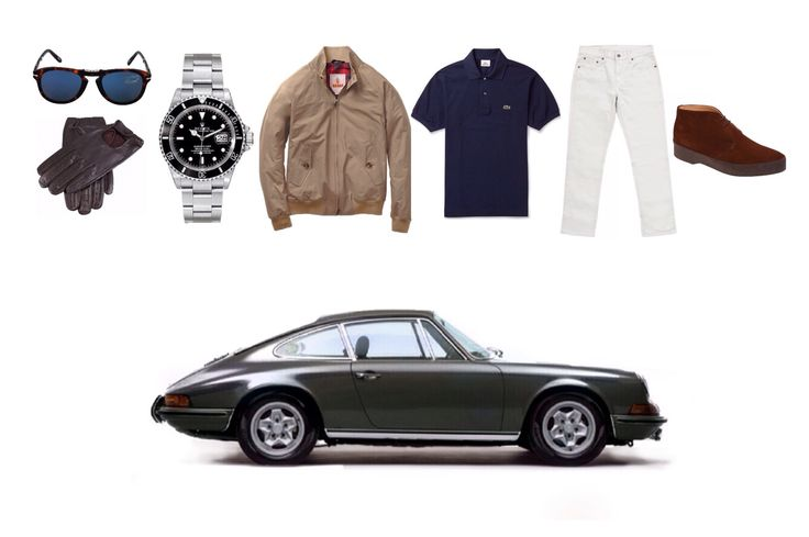 sharperman: Unashemedly McQueen Sunglasses: Persol 714 Gloves: Dents Watch: Rolex Submariner Jacket: Baracuta G9 Harrington in Tan Polo shirt: Lacoste custom fit polo Jeans: Levi 511 Boots: Sanders & Sanders 'Playboy' chukka Car: Porsche 911S 1971
