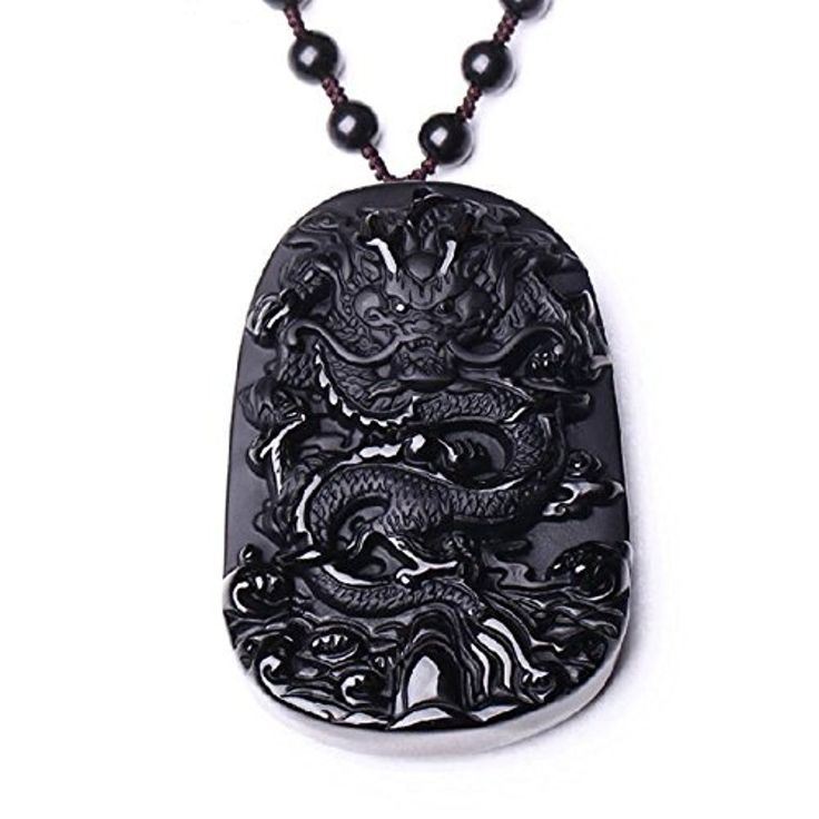 Natural Obsidian Stone Hand Carved Dragon Charm Good Luck Pendant Necklace by luckgan -- Awesome products selected by Anna Churchill
