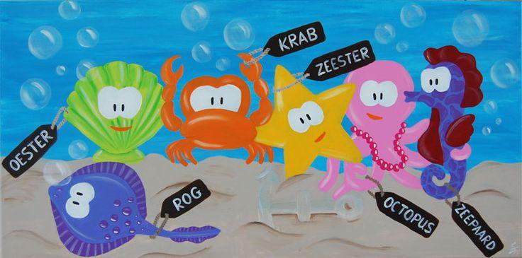 Leerzaam beestenboel (zeedieren) schilderij voor kinderen. Leuk voor in een strand / zee kamer. Afgebeeld: Oester, krab, zeester, octopus, zeepaardje en een rog. Formaat: 100cm bij 50cm / 2cm Doek: Katoen Verf: Acryl Gemaakt door: Stephanie Fiseler Prijs: €125,- www.kinderschilderijen.nl