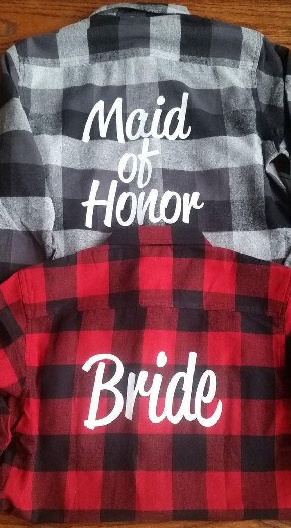 Bridal Flannels Bridesmaid Flannels Wedding by TeamBrideDesigns.