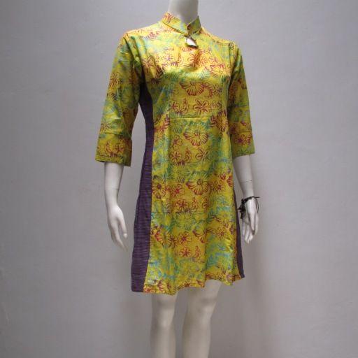 toko online solo terpercaya menjual dress batik modis dengan model kombinasi kain lutik dan batik cap solo terbaru yang cantik modern dan trendy