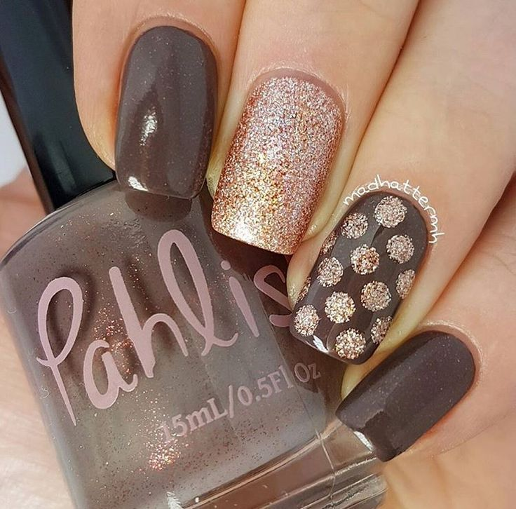 Neutral and Glitter Nail Art | Polka Dot Nail Art | Manicure