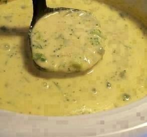 Broccoli CHEESE SOUP for the Crock Pot!!!   Ingredients:  1/2 cup onion, chopped 2 tablespoons butter or 2 tablespoons margarine 1 (10 ounce) can cream of chicken soup 1 1/2 cups milk 1 lb Velveeta cheese, cubed 1 (10 ounce) package frozen chopped broccoli  Directions:  1 Sauté onion and in butter. 2 Combine all ingredients on low in crockpot for 3-4 hours. Do not add salt.