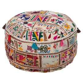 """Multicolor pouf handmade from upcycled cotton. Product: PoufConstruction Material: 100% Upcycled cottonColor: MultiFeatures: HandmadeDimensions: 12"""" H x 22"""" Diameter"""