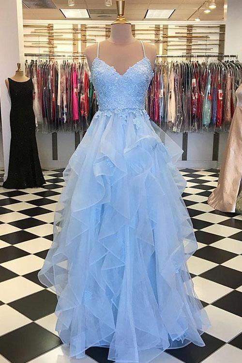 Amazing Buy Blue Tulle Long Prom Dress Layered 8th Graduation Gown OP463 – ombreprom.c…