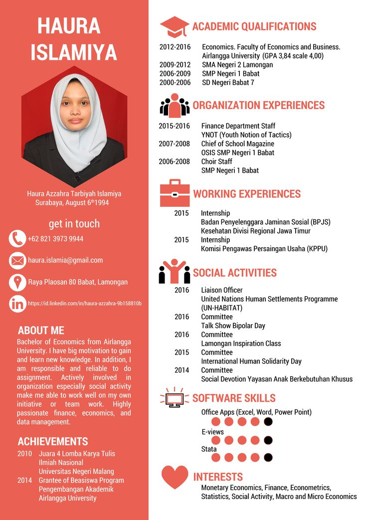 CV for Haura Cv kreatif, Desain cv, Desain resume
