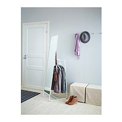 KNAPPER Floor mirror - Hiding behind the mirror are hooks and a rail for clothes hangers. A practical solution that makes it easy for you to keep everything from blazers and jackets to jewelry and bags in one place.  IKEA