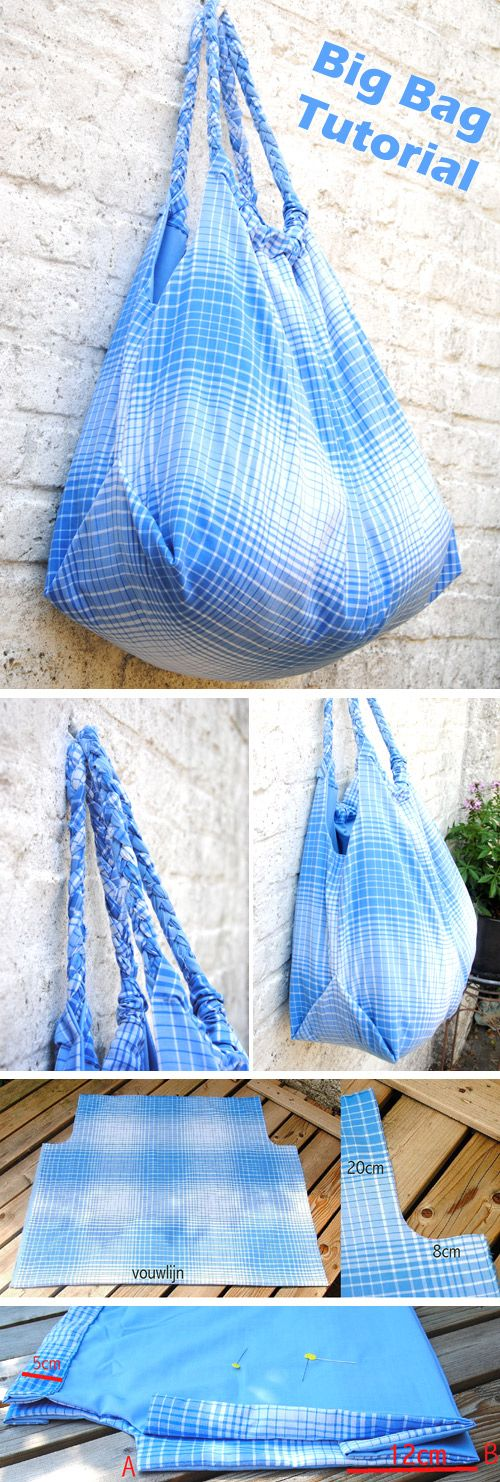 Bag Tote DIY Tutorial. How to sew a big bag  http://www.free-tutorial.net/2016/12/big-bag-tutorial.html