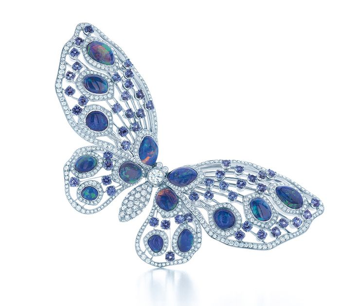 Tiffany butterfly brooch with black opals, Montana sapphires and diamonds in platinum, from the 2013 Blue Book Collection (£POA) - as worn by Gwyneth Paltrow at Tiffanys recent Blue Book Ball.