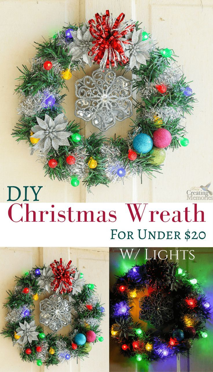 Looking for budget-friendly cheap Christmas Decoration? Discover how to make an easy lighted Christmas Wreath for under $20 w/ supplies from Dollar General! This simple DIY craft is easily completed in one day using burlap, ornament balls, garland, tinsel, poinsettias, and battery charged LED string lights. It can be used indoors or outdoors and looks great for the front door or for windows.  AD