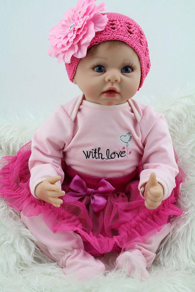 "Reborn Baby Doll 22"" Lifelike Vinyl Real Looking Newborn Baby Doll Girl Kid Gift"